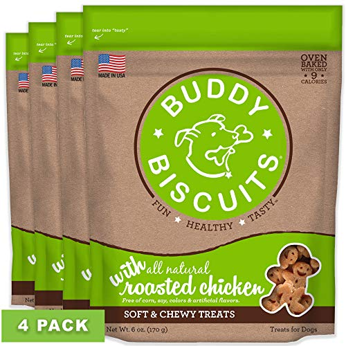 Buddy Biscuits 938072  Soft & Chewy Treats with Roasted Chicken - 6 oz. (4 PACK)