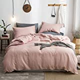 Bedding Set Light Luxury Breathable,Linen Fabric Bedding Collections Comfortable Anti-Static Easy Care The Popular Color(Single,Double),200 * 230CM