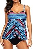 HOTAPEI Womens Swimsuit Tankini Bandeau 2 Piece Bathing Suits for Women Tankini Set Plus Size Swimwear Multi 3XL