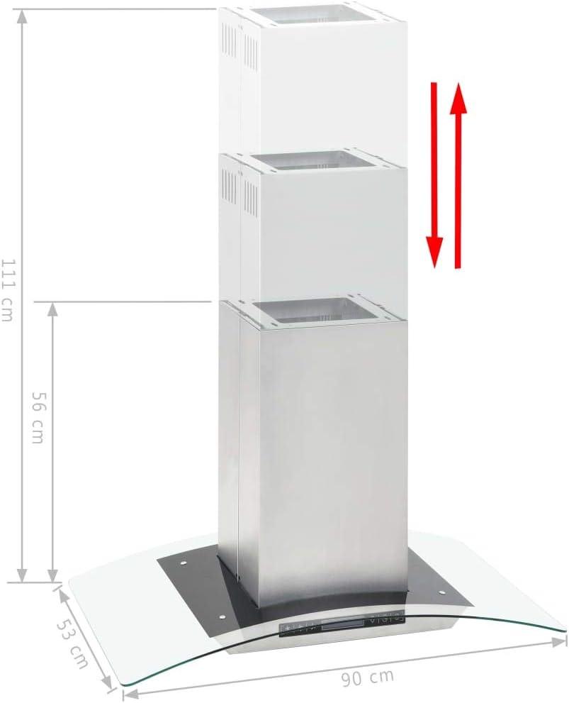 vidaXL Cappa a Isola con Display LCD e Sensore Touch 756 m³//h LED 90cm Filtro