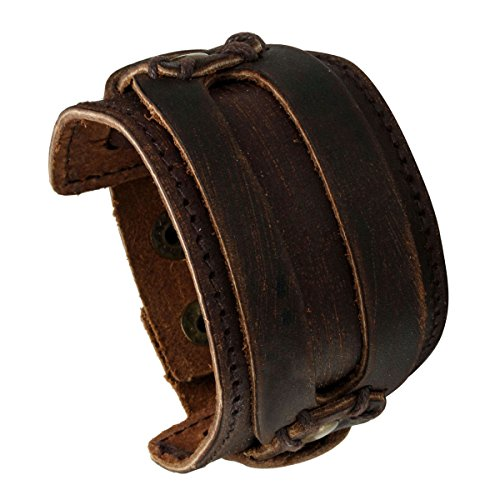 Eigso Brown Retro Rock Punk Wide Strap Leather Bracelet Snap Button Wristband for Men -
