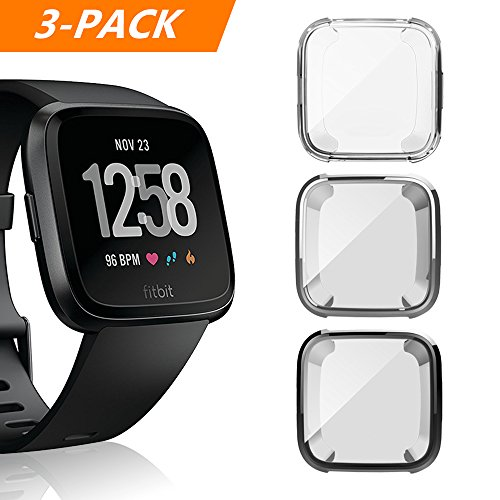 Case for Fitbit Versa, iHYQ Soft TPU Slim Fit Full Cover Screen Protector for Fitbit Versa Smart Watch (Black+Silver+Clear)