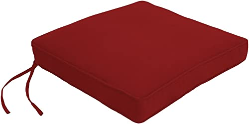 Easy Way Products Double Piped Sewn Closed Chair Pad, 19 L x 18 W x 2.5 H, Canvas Solid Jockey Red