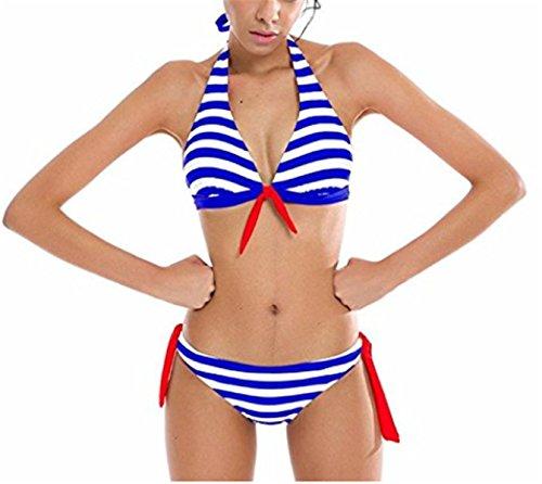 SHUNLIU Traje de Baño Mujer Bikini de Rayas Alta Elástica Traje de Baño Mujer Bañadores Ropa de Baño Azul
