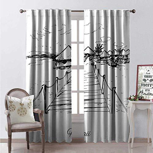 (Hengshu Hawaiian Room Darkening Wide Curtains Sketch Style Hawaii Dock Tiki Huts Bungalows Tropical Trees Beachy Boho Design Waterproof Window Curtain W84 x L96 Black White)