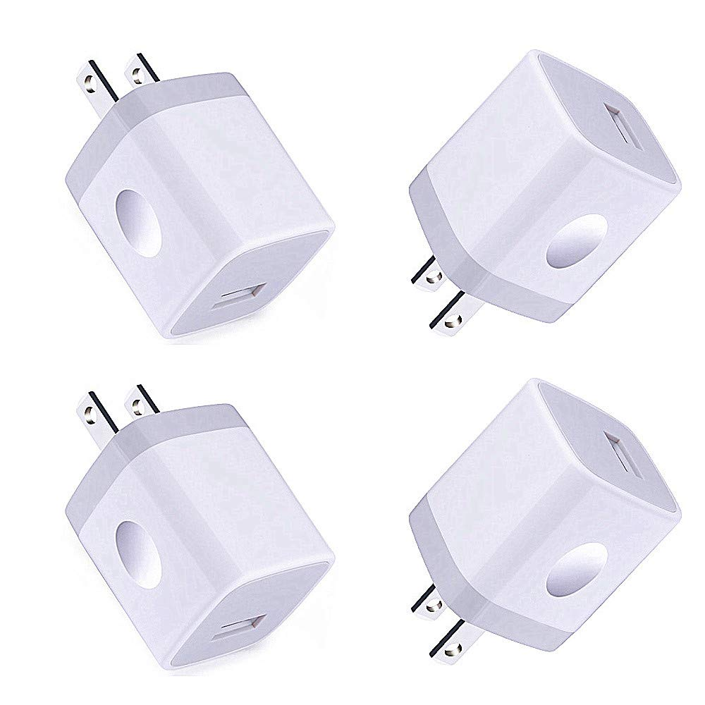 Single USB Port Wall Charger,Charger Adapter,HopePow 1A/5V 4Pack USB Charger Plug Charging Block Box Station Compatible for iPhone11 XS/Max/XR/X/8/7,Samsung Galaxy S10/9/8/7,A50 80 90,LG Stylo 5 4,Q7+