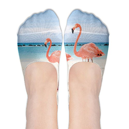 Summer Women's Thin Casual Socks Non Slip Flat Boat Line, The Crane Is On The Beach Flamant Rose ()