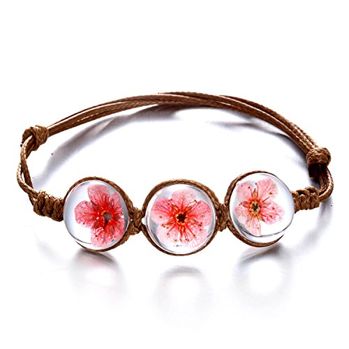 (RINHOO Handmade Dry Pressed Flower Cherry Blossom Gemstone Glass Cover Charms Adjustable Rope Strand Bangle Bracelet Women Girls)