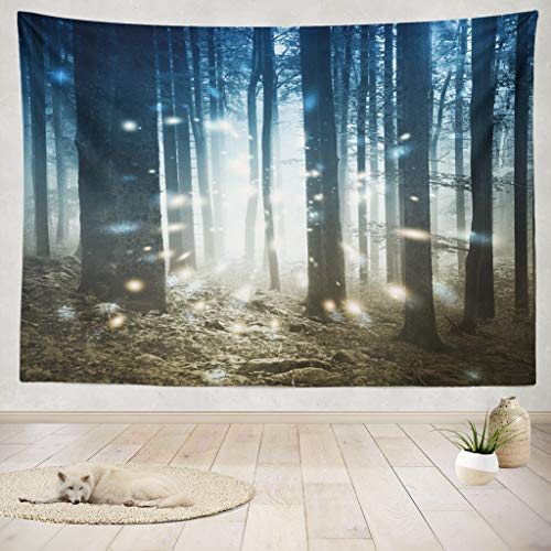 (ASOCO Tapestry Wall Handing Fantasy Firefly Lights Magic Fairy Tale Forest Magic Forest Fantasy Heaven Wall Tapestry for Bedroom Living Room Tablecloth Dorm 60