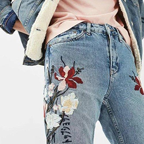 Poches Bleu Dooxi Mid Les avec Brod Taille Femme Loose Dcontracte Denim lgantes Pantalons Jeans q1OS7qwH
