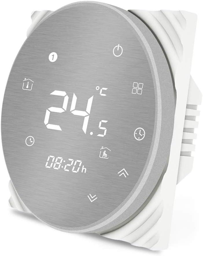 MOES Termostato inteligente Controlador de temperatura WiFi Panel cepillado de metal Smart Life/Tuya APP Control remoto para agua Caldera de gas Heatinge Funciona con Alexa Google Home