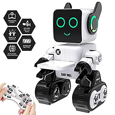 PRANITE Remote Control Robot Toy Robots for Kids Intelligent Programmable Dance Song Financial Story Learning Touch Response Voice Interaction Record Play Music Ear Eye Light Color Changing Age 8+