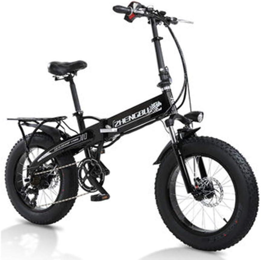 20インチ折りたたみ電動自転車ビーチスノーバイク350w電動自転車電動マウンテンバイク移動可能な48v 10ahリチウム電池を使用すると、最大速度は25 Km/hになります,黒 黒