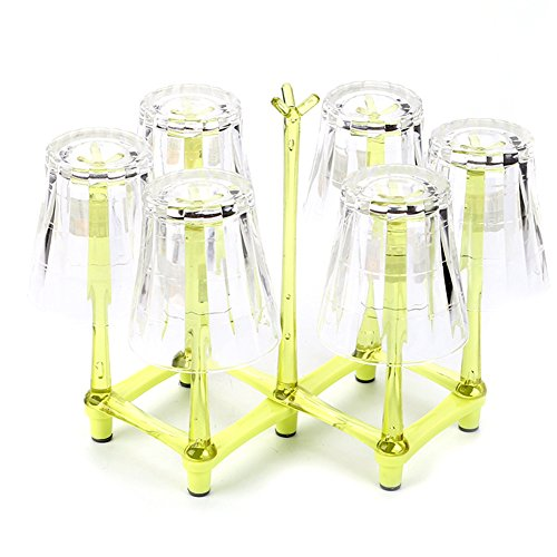 HaloVa Cup Drying Rack Stand, Retractable Non-slip Rack Water Drain Dry Organizer for Bottle Cup Dish Plate, Durable and Dustproof, Green