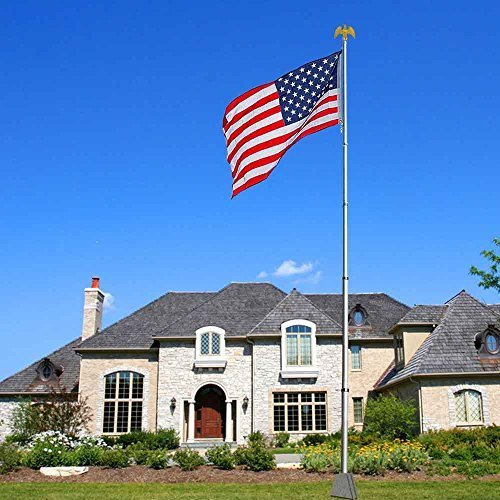 20ft Telescopic Aluminum Flag Pole + Eagle Top Kit w/ Free 3'x5' Us Flag & Ball Top Telescoping Flagpole by Yescom