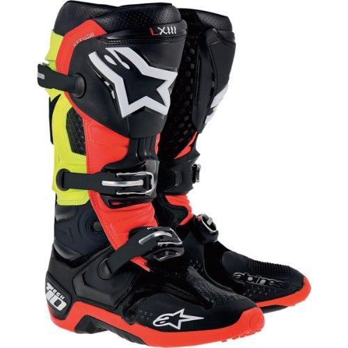 Alpinestars Tech 10 Boots , Primary Color: Black, Size: 8, Distinct Name: Black/Red/Yellow, Gender: Mens/Unisex (Biomechanical Bio Boots)