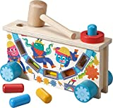 HABA Highlights Monster Tap Bench Hammering and Pounding Toy with Colorful Wooden pegs, Mallet and Illustrations - Teaches Cause and Effect