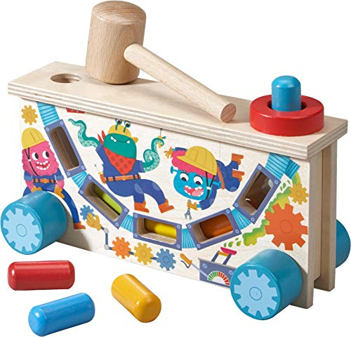 ter Tap Bench Hammering and Pounding Toy with Colorful Wooden pegs, Mallet and Illustrations - Teaches Cause and Effect ()