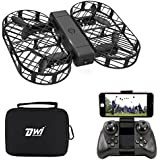 Dwi Dowellin FPV Drone Camera Live Video Foldable RC Quadcopter Crash Proof One Key Take Off Landing Flips Rolls Mini Drones Case Kids Beginners Adults