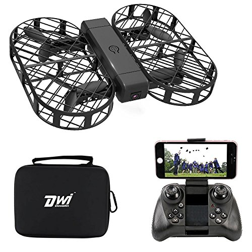 DWI Dowellin FPV Drone with Camera Live Video Foldable RC Quadcopter Crash Proof One Key Take Off Landing Flips and Rolls Mini Drones with Case for Kids Beginners Adults by Dwi Dowellin