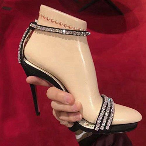 para Chang Shi Ren diamantes Firm Pin vestir imitaci de de mujer Jia Zapatos Sandalias Tacones de wUYxxSTqp
