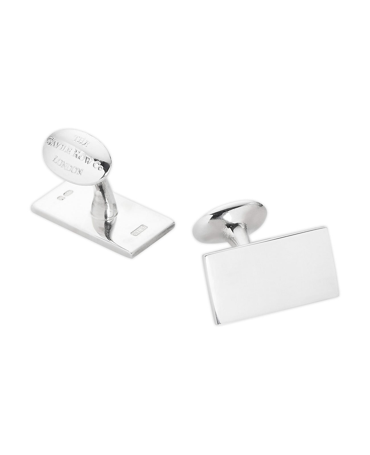 Savile Row Men's Engravable Sterling Silver Rectangle Cufflinks