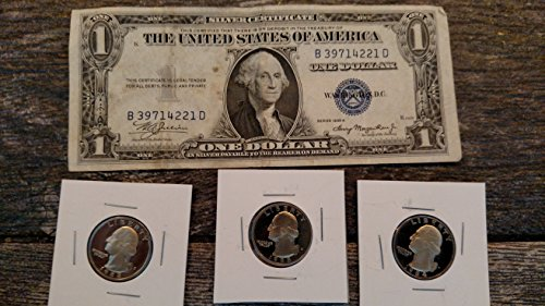 Silver Certificate with 3 Proof Quarters