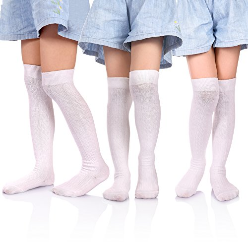 Solid Color Knee Socks - HERHILLY School Uniform Classic Cable Cotton Over Knee-high Socks for Big Girls Solid Colors Stylish Boot Socks 3 Pack (3-5 Year old, 3 Pack White)