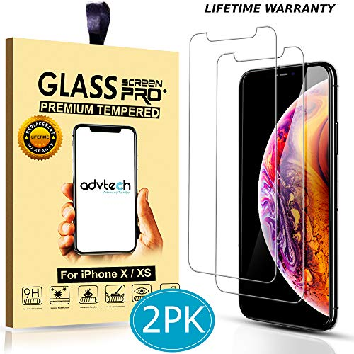 ADVTECH [2-Pack] iPhone X XS Screen Protector [2.5D Curved Edges] Tempered Glass [99% HD Clarity] 0.33mm Ultra Thin [6X Stronger] for Apple iPhone 5.8 inch [9H Hardened Glass]