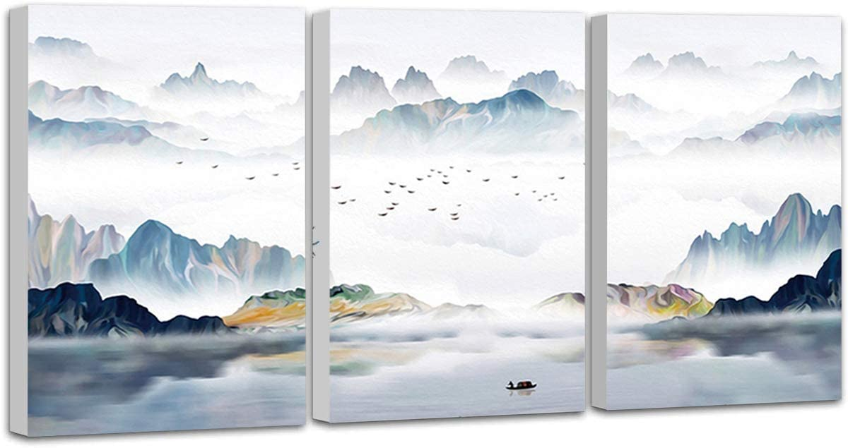 MULBESS Canvas Home Artwork Decoration Abstract Mountain Nature Scenery Canvas Wall Art for Living Room, Bathroom, Bedroom, Office 3 Panels Paintings Prints Wall Decor 12