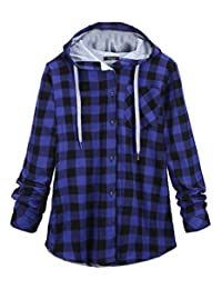 Gnao Womens Stylish Buttons Plaid Plus Size Pocket Hoodie Cardigan Jackets