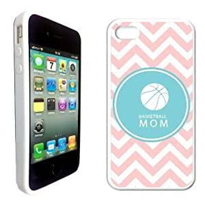 Basketball Mom Baby Pink Zig Zag Circle Hipster White Silicon Bumper iPhone 4 Case Fits iPhone 4 & iPhone 4S