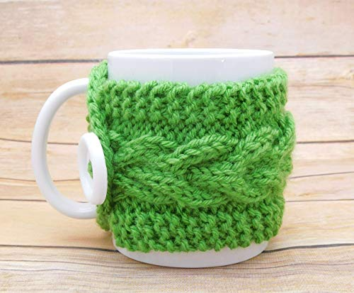- Hand Knit Cabled Mug Cozy - Spring Green - Gift for Mom
