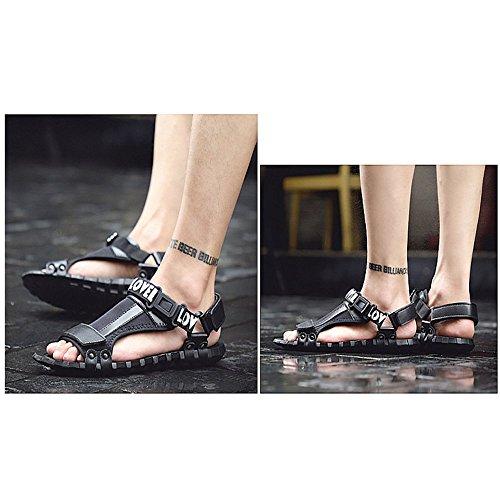 Deportes Zapatos para Punta cómodos Exterior adecuados para Zapatos de de Cuero Ocio Interior Black Abierta Sandalias Hombres Antideslizantes y con Ajustables I68Ypq