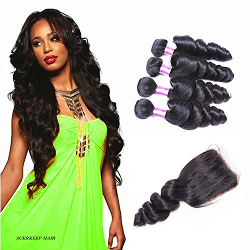 Suerkeep 8A Loose Wave Virgin Brazilian Hair 4 Bundles With Closure Weave Double Strong Weft Superior Human Hair Bundles With Free Part Closure Deals(20 22 24 24+18,Natural Color)