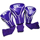 Team Golf NCAA Kansas State Wildcats Contour Golf Club Headcovers (3 Count), Numbered 1, 3, & X, Fits Oversized Drivers, Utility, Rescue & Fairway Clubs, Velour lined for Extra Club Protection