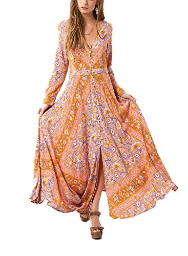 2017 Vintage Floral Print Boho Maxi Dress Plus Size - 3