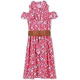 Speechless Big Girls' Cold-Shoulder Walk-Though Romper Dress, Fuchsia Turquoise, 8