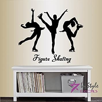 Wall Vinyl Decal Home Decor Art Sticker Figure Skating Words Girls Ice Skating Sports Room Removable