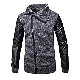 Men's Casual Autumn Winter Zipper Leather Patchwork Outwear Tops Blouse Coat