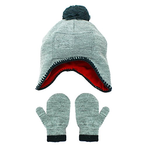 Hanes Toddler Boys Sweater Knit Peruvian Flag Winter Hat and Mitten Set Grey 2T-4T