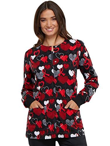 Cherokee Fashion Prints Women's Snap Front Heart Print Scrub Jacket Large Print