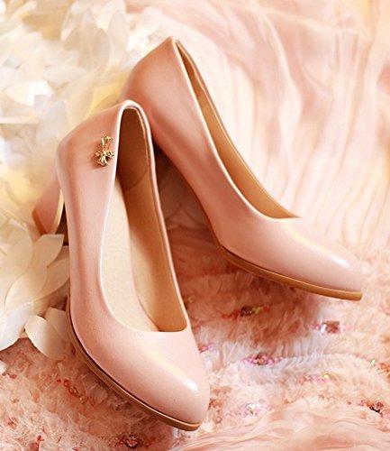 Pink Court Slip On Round Shoes Women's Aisun Pumps Toe Dressy xa0zqSZw