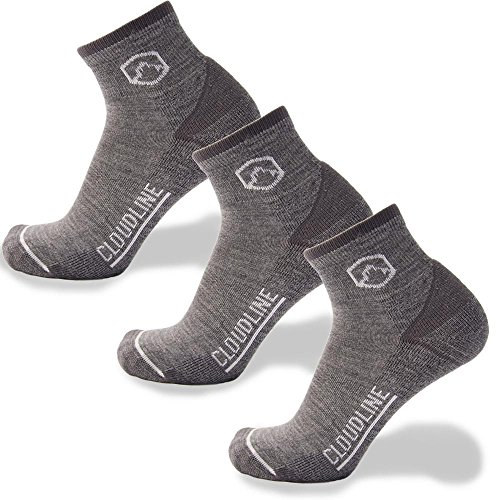 CloudLine Merino Wool Athletic 1/4 Crew Ultra Light Running Socks - 3 PACK - for Men & Women
