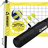 Patiassy Professional Portable Volleyball Net and Ball Set System for Outdoor Beach, Backyard with Upgraded Adjustable Poles, Winch System for Anti Sag Net and Carry Bag
