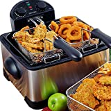 Secura 1700-Watt Stainless-Steel Triple Basket Electric Deep Fryer with Timer Free Extra Odor Filter, 4.2L/17-Cup (4.4 Qt)