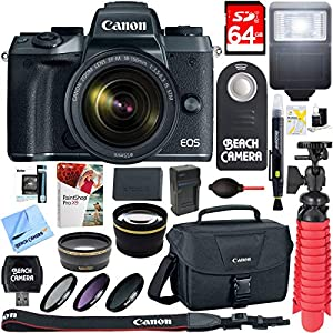 Canon EOS M5 Mirrorless Digital Camera w/EF-M 18-150mm is STM Lens + 64GB Memory Card + Camera Bag + 0.43x Wide Angle…