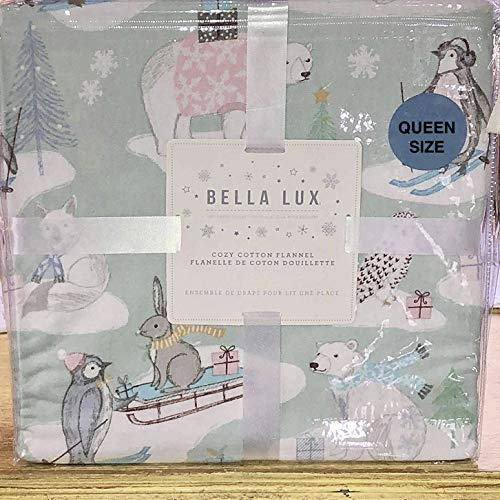 Bella Lux Christmas Animals Flannel Sheet Set - Queen Size - Polar Bear Penguin Deer Christmas Tree on Mint Green Background (All Cotton Flannel)