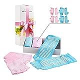 Yoga Pilates Socks And Gloves - 2 Sets Yoga Socks And Gloves,Gift Pack Non Slip Anti Skid Grip For Yoga Pilates Barre,for Women Girl(Pink, Blue, 8.5-10)