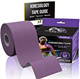 Kinesiology Tape (2 Pack or 1 Pack) Physix Gear Sport, 5cm x 5m Roll Uncut, Best Waterproof Muscle Support Adhesive, Physio Therapeutic Aid, Free 82pg E-Guide - PURPLE 1 PACK